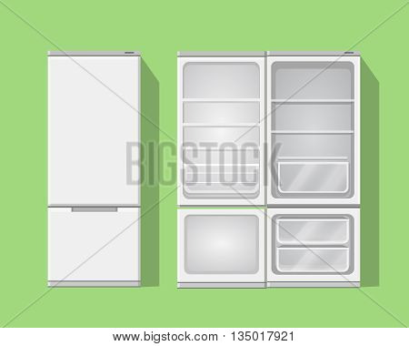 Illustration grey opened and closed empty refrigerator. Vector fridge icon