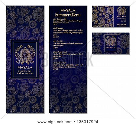 Vector illustration of a menu card template design for a restaurant or cafe Indian oriental cuisine. Asian Arab and Lebanese cuisine. Business cards and vouchers. Logo - traditional indian flower