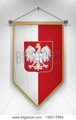 Pennant with Polish flag and its coat of arms. 3D illustration with highly detailed texture.