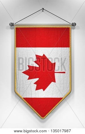 Pennant with Canadian flag. 3D illustration with highly detailed texture.