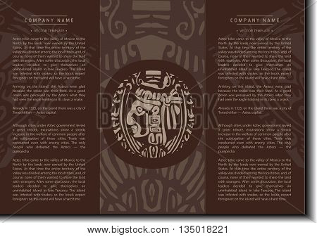 Vector ethnic booklet with the head of a Mayan