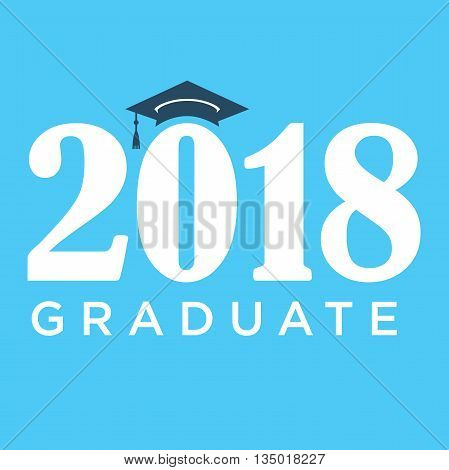 Blue 2018 Graduate Vector Graphic with Graduation Cap and Tassle