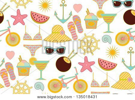 Seamless summer pattern with sunglasse watermelon sun and anchor ans cocktail starfish and wheel