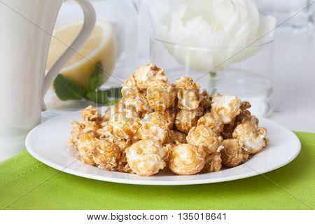 dessert caramel popcorn still life sweet tea party