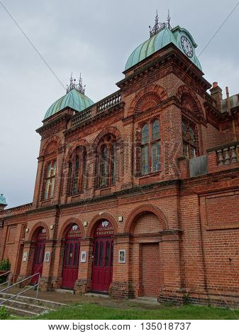 Theatre building with clock tower photographed at Gorleston On Sea in Norfolk