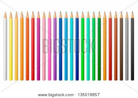Colour pencils isolated on a white background. Vector EPS10 illustration.