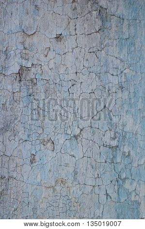 Abstract background dirty cracked facing plaster surface painted blue over white