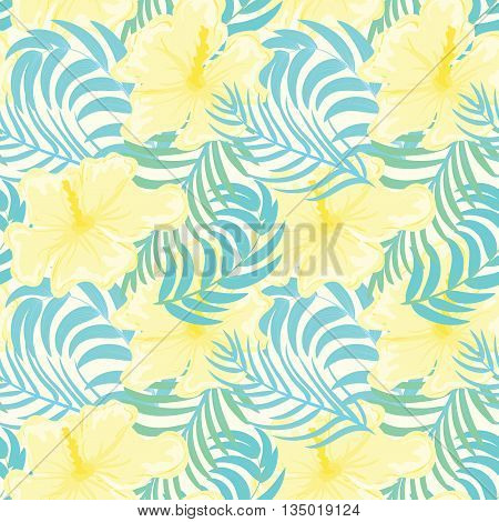 Exotic Tropical Flowers and Leaves Summer Background. Vector illustration.