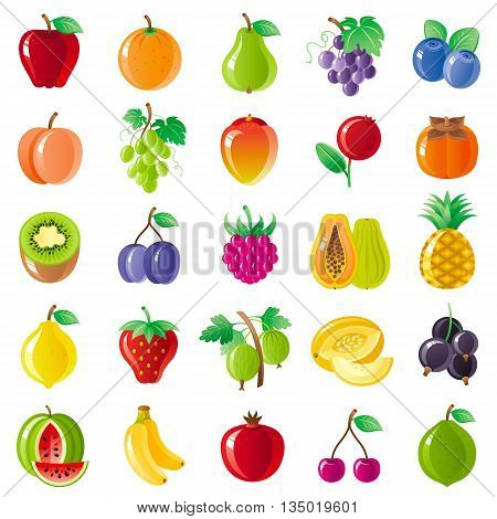 Vegetarian food icon set with organic fruits, vegetables, berries. Macro style icons collection. Apple fruit, papaya icon, watermelon berry, pineapple icon, lemon fruit, kiwi, strawberry, grapes icon
