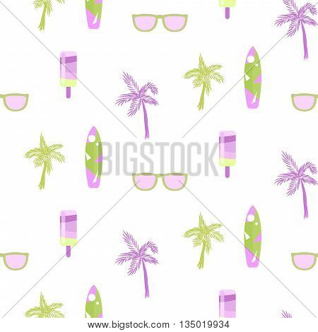 Summer beach party seamless pattern for cards or fabric. Ice cream, palm tree, sunglasses and surf board chill out theme pattern. Green and lilac colors on white.