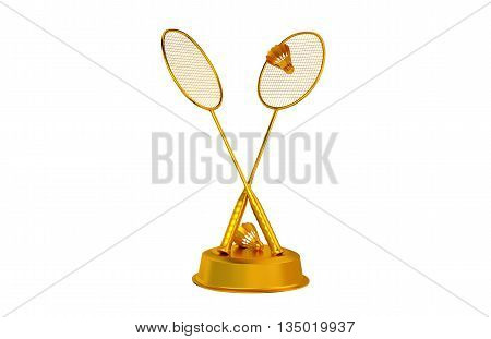 3D illustration of Badminton trophy in Gold with a white background