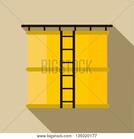 Oil storage tank icon in flat style with long shadow