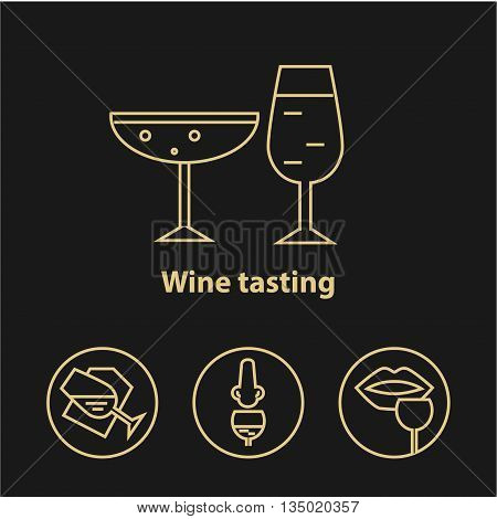 Wine gold icons collection on dark background. Modern outline style. Wineglasses and tasting process. Can be used for wine shop wine company and club for typographic purpose