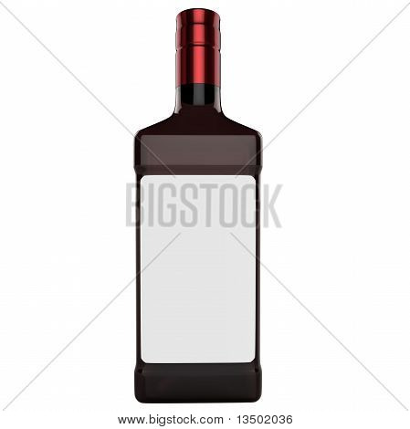 3D Bottle With White Blank Label