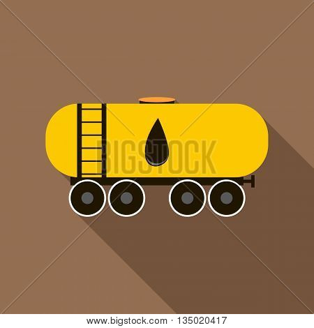 Railroad oil tank icon in flat style with long shadow