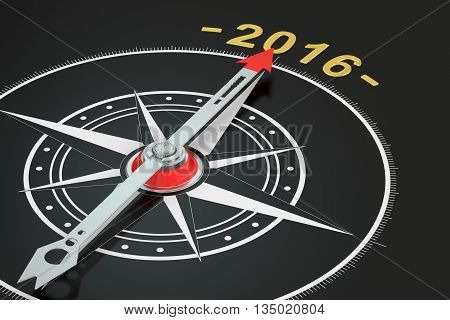 Conceptual 2016 year compass 3D rendering on black background