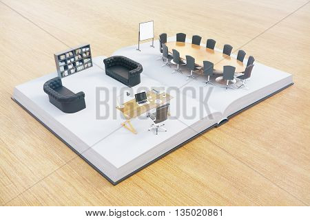 Open book with abstract office interior on wooden surface. 3D Rendering