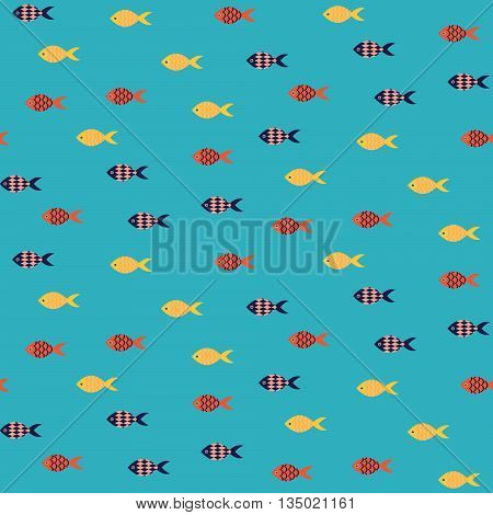 Vector fish seamless pattern. School of small yellow and red fish in rows on blue sea pattern. Summer marine theme.