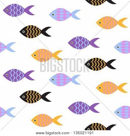 Vector fish seamless pattern. School of fish in rows on white sea pattern. Summer marine theme.