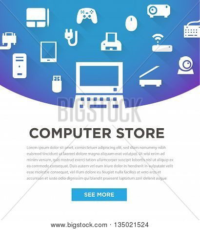 Blue computers device icons. Banner for store. Vector pictograms