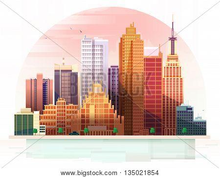 Urban City landscape. Stylized vector illustration of a city