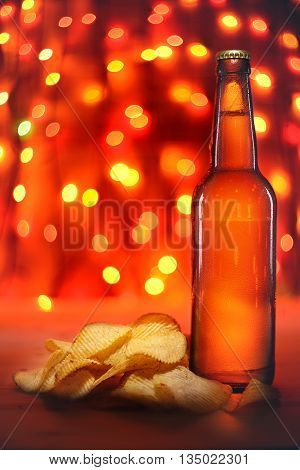 Beer Bottle And Potato Chips