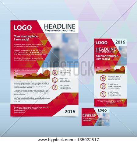 Red annual report with the pattern of triangles brochure flyer and business card design template. Triangles Pattern for Business Presentations. Report with infographics. A4 layout 1/3 A4 card