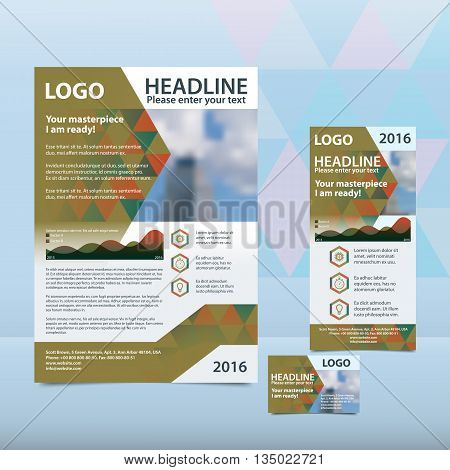 Green annual report with the pattern of triangles brochure flyer and business card design template. Triangles Pattern for Business Presentations. Report with infographics. A4 layout 1/3 A4 card
