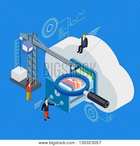 Cloud data storage flat 3d isometric. 3d flat magnifying glass. Businessman put in document drawer folder in cloud-shaped cabinet. Crane lowers a folder to the archive. Futuristic virtual graphic user interface.