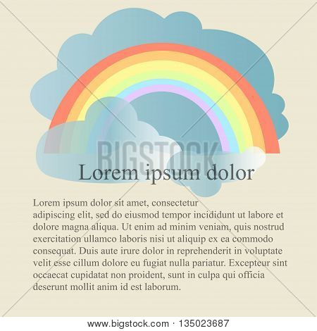 Colorful rainbow and blue clouds background on light gray, Lorem ipsum, vector illustration