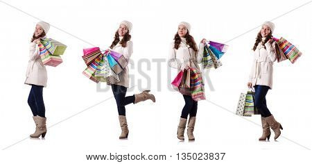 Woman in winter clothing doing christmas shopping