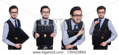 Collage of funny businessman on white