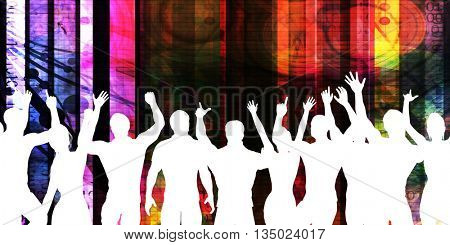 Excited Crowd Silhouette on a Party Abstract Background 3D Illustration