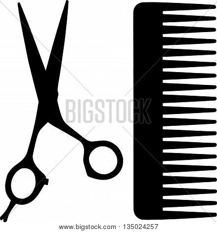 comb and scissors icon , simple style