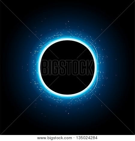 illustration of big blue color light with light around black hole in the sky