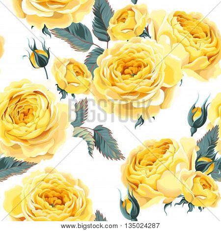Vintage gentle english roses vector seamless background