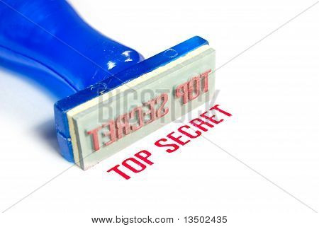 Top Secret Blue Rubber Stamp