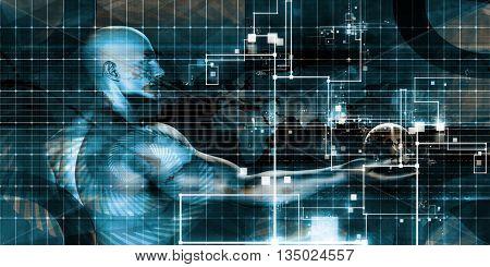 Information Technology or IT Infotech as a Art 3D Illustration Render