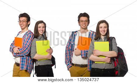 Pair of students isolated on white