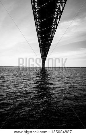 Underneath the Mackinac Bridge on a Beautiful Day