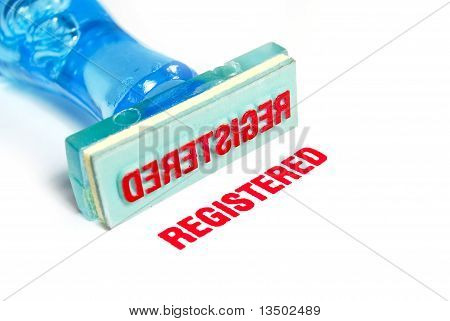 Registered Blue Rubber Stamp