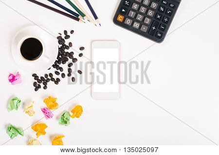 Messy Desktop With Coffee Beans