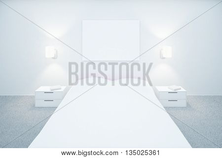 White Bedroom With Blank Board