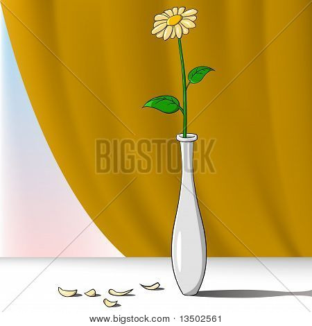 Cartoon flower in vase with curtain on background