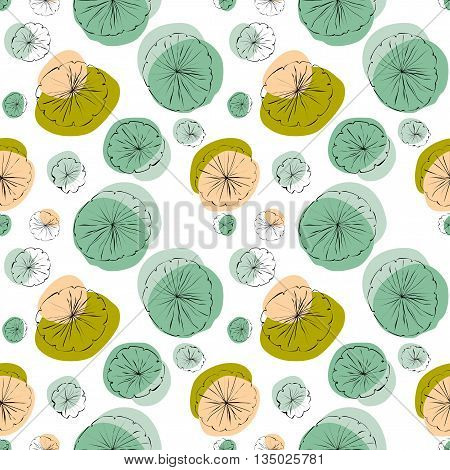 Water Lily pad vector seamless pattern in line-drawing style