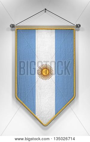 Pennant with Argentinian flag. 3D illustration with highly detailed texture.
