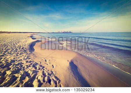 Baltic sea beach, vintage photo.