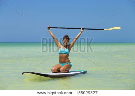 Fit woman having active vacation in the mexican Caribbean