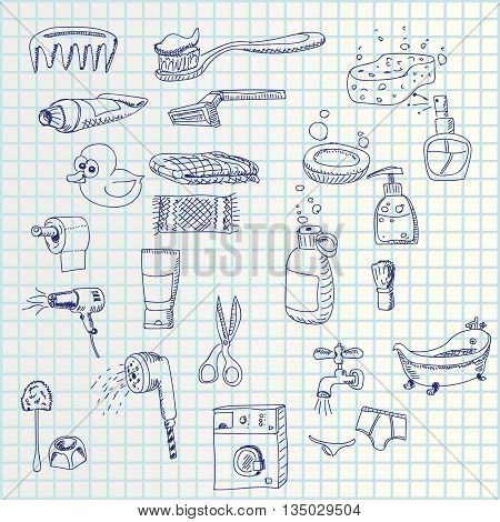 illustration of hand draw toilet set icons on paper