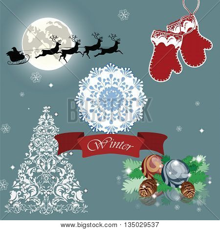 Christmas Eve card with Santa's sleigh and reindeer flying over the city. Christmas fairy night. Vector